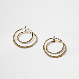 Gold tone twist hoop earrings