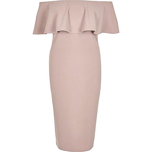 Light pink deep frill bardot bodycon dress