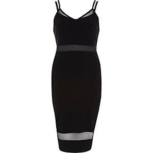 Black strappy mesh panel bodycon dress