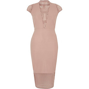 Blush pink mesh panel turtleneck dress