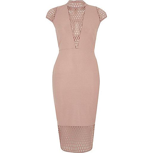 Blush pink mesh panel turtleneck dress