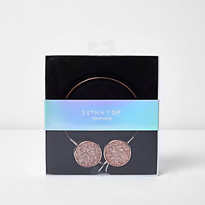 Skinny Dip rose gold glitter headphones