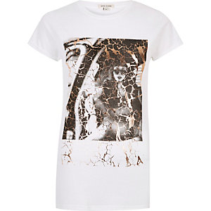White metallic snake print T-shirt