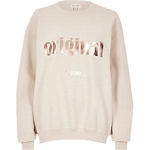Cream metallic print sweatshirt