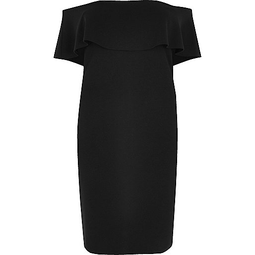 Plus black deep frill bardot bodycon dress
