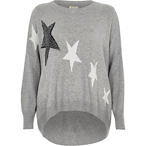 Grey studded star print knit jumper
