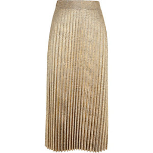 Gold metallic pleated midi skirt