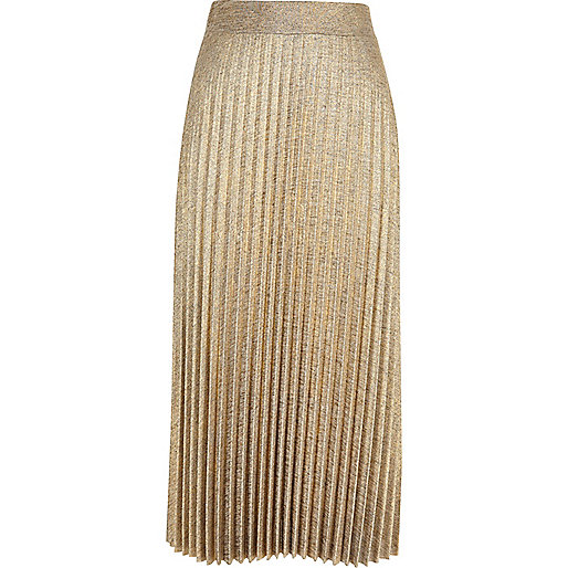 Gold metallic pleated midi skirt