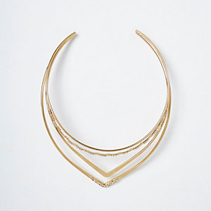 Gold tone pave triangle necklace