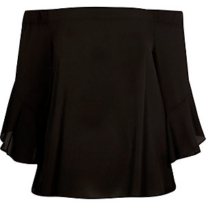 Black bardot flared sleeve top