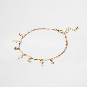 Gold tone cross charm anklet