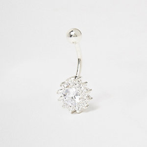 Silver tone floral embellished belly bar