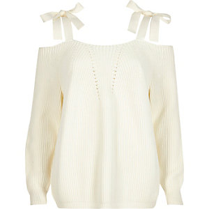 White tie shoulder knit jumper