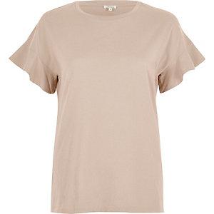 Blush pink frill sleeve T-shirt