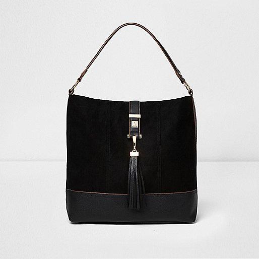 Black tassel strap slouch bag