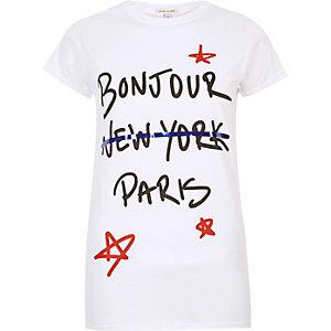 White 'Bonjour' print T-shirt