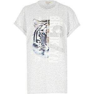 Grey tiger print stud boyfriend T-shirt