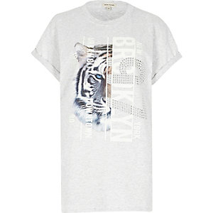 Grey tiger print stud boyfriend T-shirt