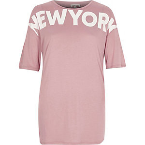 Pink 'New York' print boyfriend T-shirt