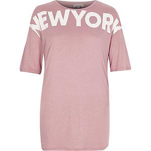 T-shirt boyfriend rose imprimé 'New York'