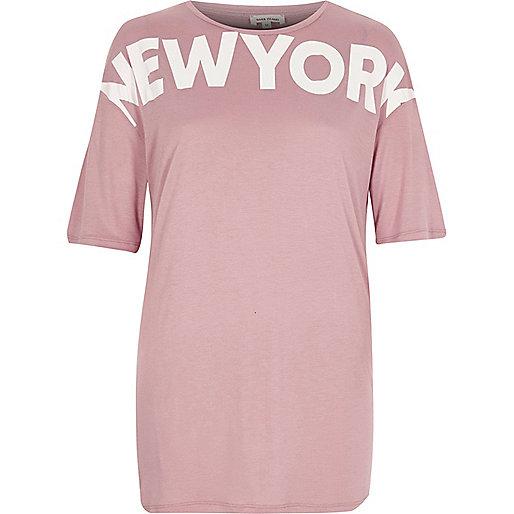 Pink 'New York' print boyfriend T-shirt