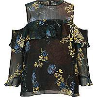 Black floral cold shoulder deep frill blouse