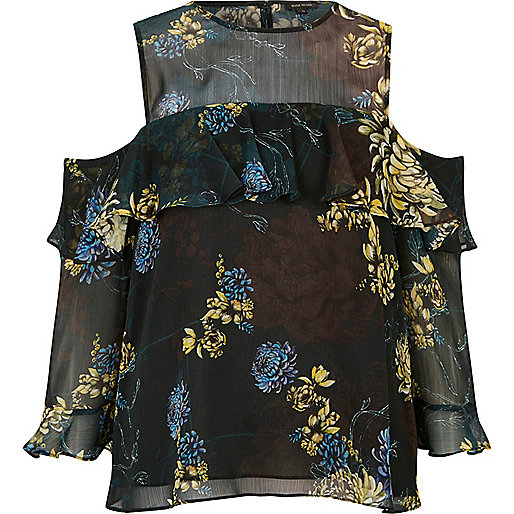 Black floral cold shoulder deep frill blouse