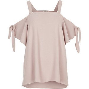 Blush pink cold shoulder bow tied top