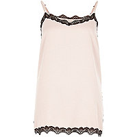 Nude pink satin lace trim cami top