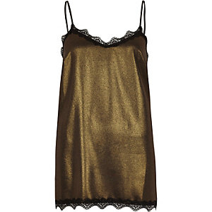 Gold metallic lace trim cami top