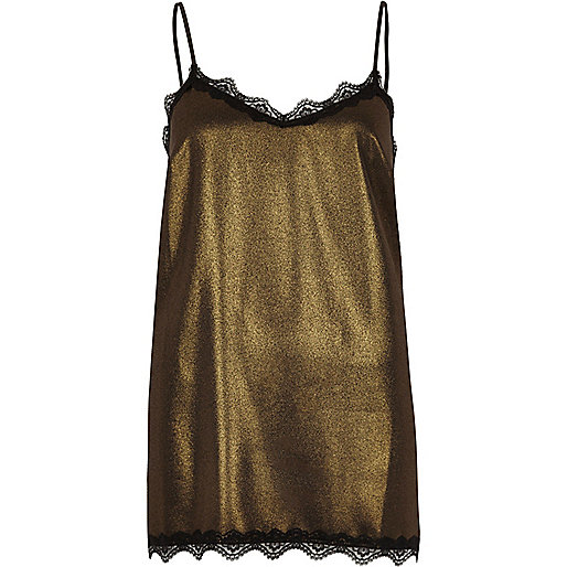 Gold metallic lace trim cami top