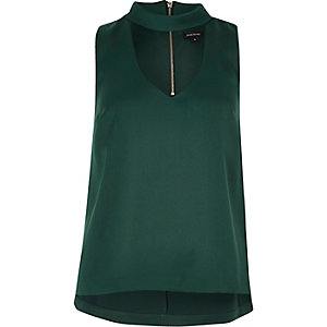 Green satin choker top