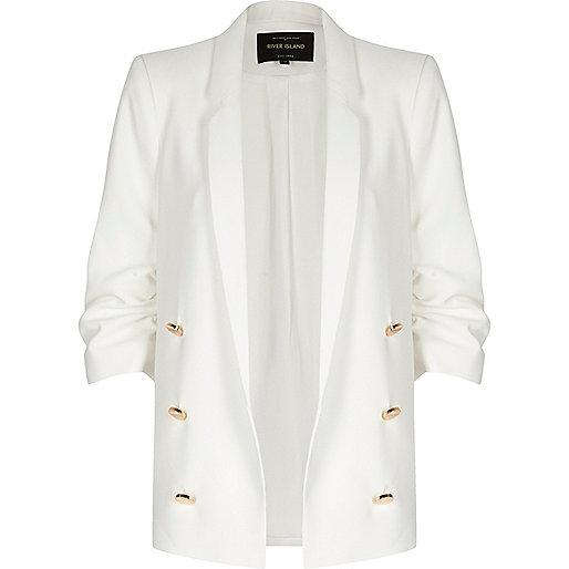 White smart open blazer