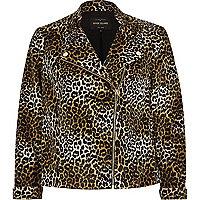 Brown leopard print soft biker jacket