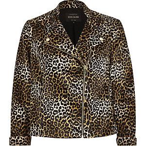 Braune, weiche Bikerjacke mit Leopardenmuster