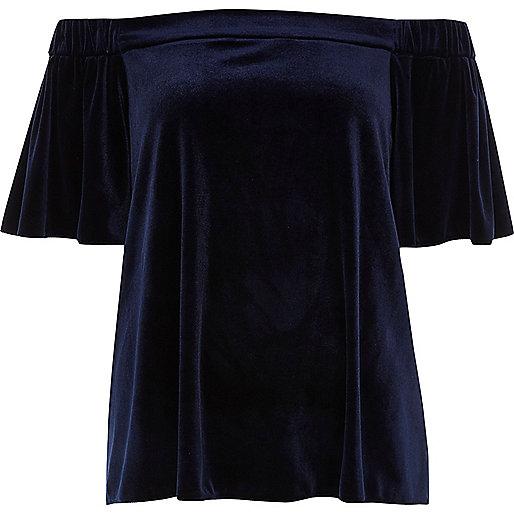 Top en velours bleu marine style bardot