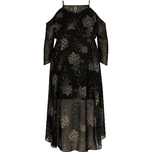 Plus black print cold shoulder maxi dress