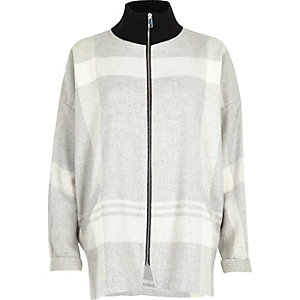 Grey check zip turtleneck shacket