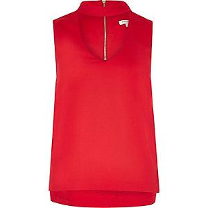 Red satin choker top