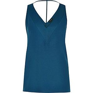 Blue T-bar cami top