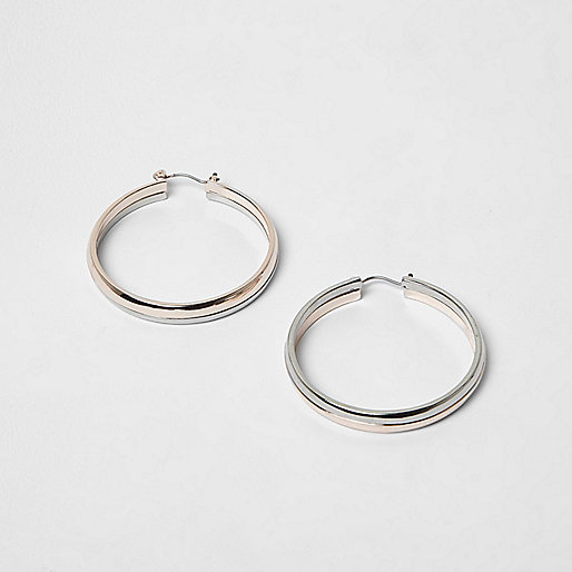 Rose gold and silver tone hoop earrings