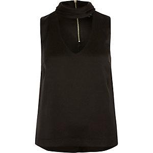 Black satin choker top