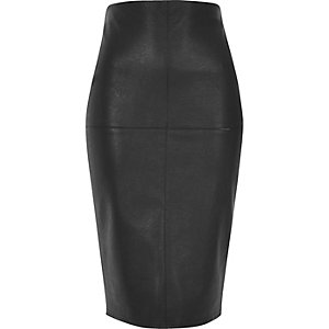 Black stitch detail pencil skirt