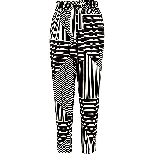 Black stripe print soft tie tapered trousers