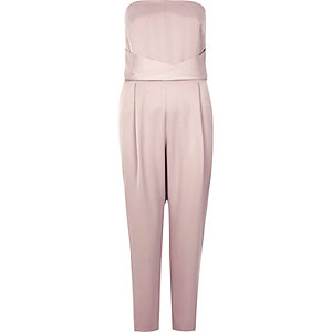 Light pink satin bandeau jumpsuit