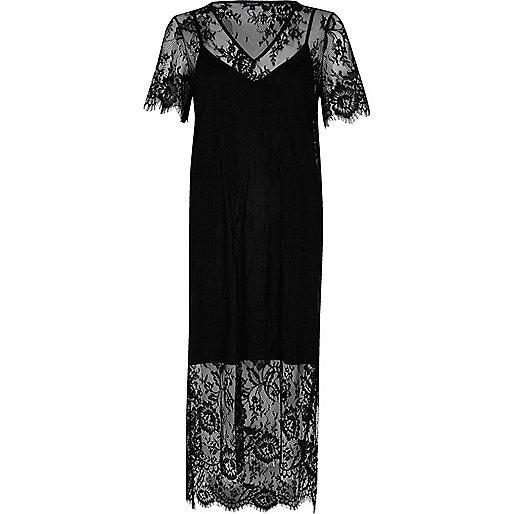 Midi-T-Shirt-Kleid aus schwarzer Spitze