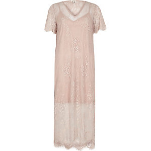Nude lace midi T-shirt dress