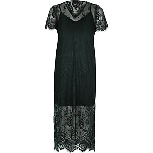Dark green lace midi T-shirt dress