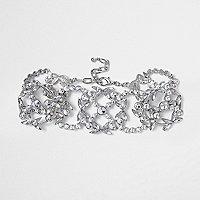 Halsband mit Ziersteinchen in Silber