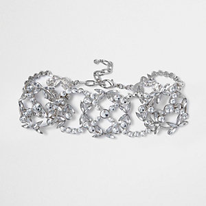 Silver tone interlinking crystal choker